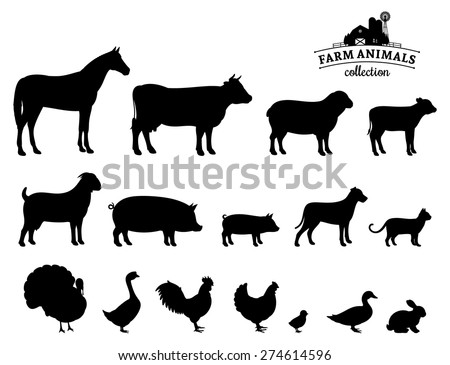 Vector Farm Animals Silhouettes Isolated on White - stock vector