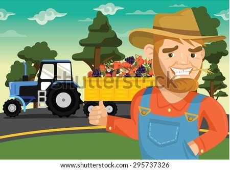 Vector farm flat illustration - stock vector