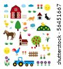 Vector Farm Set - stock vector