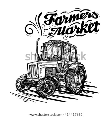 vector farm tractor hand drawn isolated on a white background - stock vector