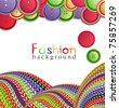 vector fashion background with knitting and buttons - stock vector