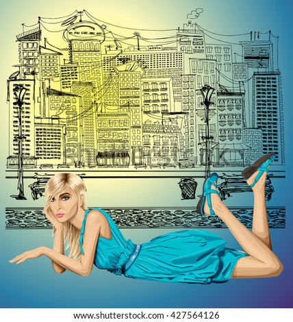 Vector fashion blonde in blue dress lies on a floor - stock vector