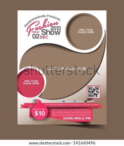 Vector Fashion brochure, flyer, magazine cover & poster template - stock vector