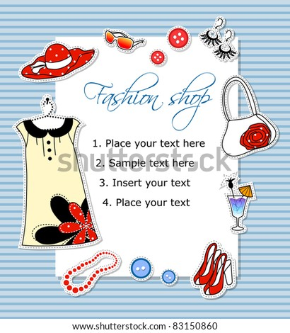 Vector fashion card with clothes and text