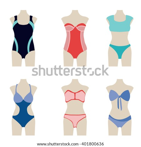 dress style bathing suits vector