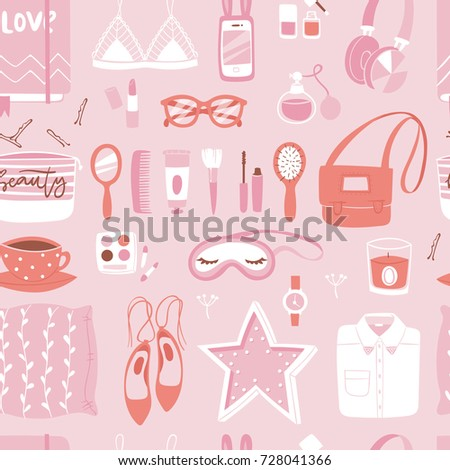 Vector fashion girl clothing and accessories isolated shopping items and beautiful cosmetic or makeup seamless pattern background