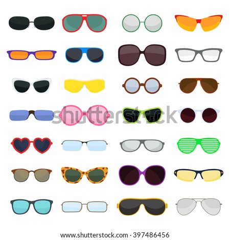 Vector fashion glasses collection isolated on white. Fashion glasses. Hipster fashion glasses, summer  fashion glasses vector illustration. Sunglasses isolated vector illustration. Glasses collection - stock vector