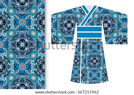 Vector fashion illustration, decorative stylized Japanese kimono ethnic clothes and vertical seamless geometric pattern, repeating texture. Isolated elements for  invitations, greeting cards design - stock vector
