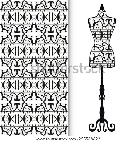 Vector fashion illustration, hand drawn seamless lace geometric pattern. Vector vintage tailor's dummy for female body, isolated elements for invitation card design. - stock vector
