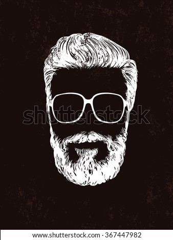 Vector fashion illustration, hand graphics - Men's Beard and Hair - stock vector