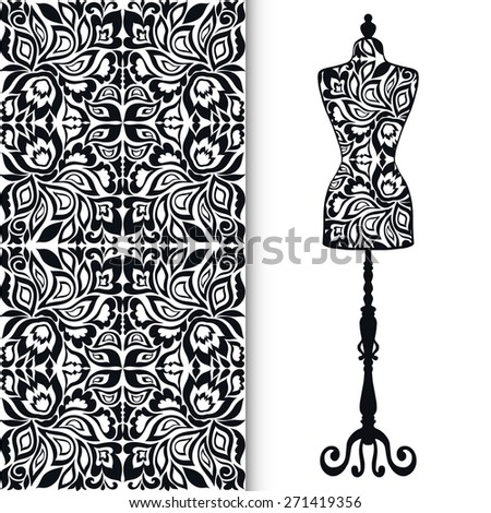 Vector fashion illustration, seamless geometric pattern, black and white fabric texture with tribal ethnic ornament. Vintage tailor's dummy for female body, elements for invitation card design.  - stock vector