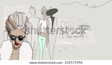 Vector fashion illustration with girls on the street - stock vector