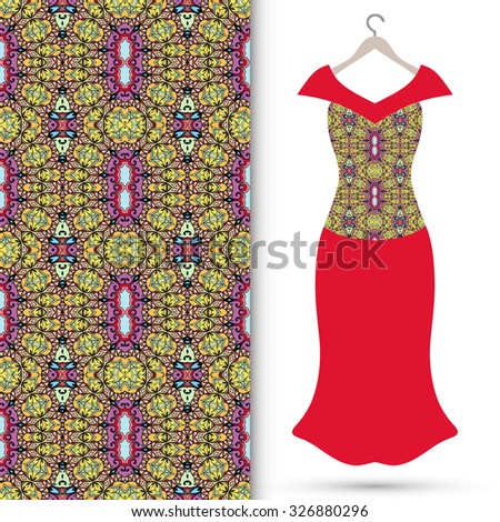 Vector fashion illustration, women's dress on a hanger, hand drawn seamless floral geometric pattern, isolated elements for invitation card design, repeating fabric texture - stock vector