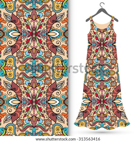 Vector fashion illustration, women's dress on a hanger, hand drawn seamless geometric pattern, isolated elements for invitation card design. Seamless fabric texture  - stock vector