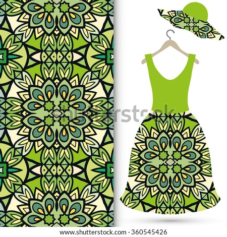 Vector fashion illustration. Women's hat and dress on a hanger, seamless fabric pattern with repeating floral geometric texture. Hand drawn isolated elements for scrapbook, invitations, cards design. - stock vector