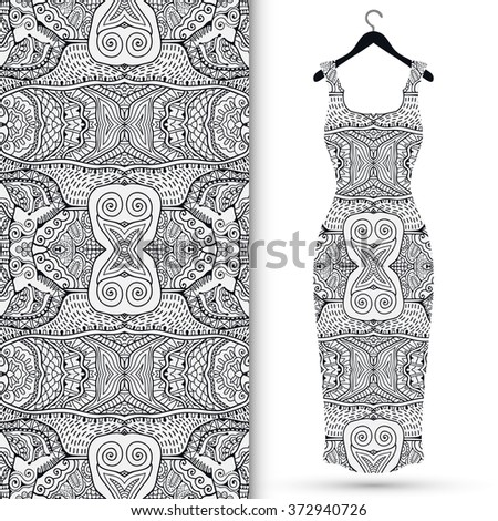 Vector fashion illustration. Women's lace dress on a hanger and seamless doodle sketch pattern with hand drawn repeating texture. Isolated elements for scrapbook, invitations or cards design. - stock vector