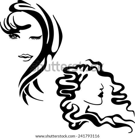 Vector fashion logo girl's face. - stock vector