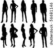 Vector Fashion Model Silhouettes. This fashion illustration is perfect for a variety of different design projects. - stock photo