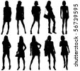 Vector Fashion Model Silhouettes. This fashion illustration is perfect for a variety of different design projects. - stock vector