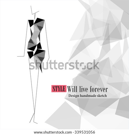Vector fashion model. Vector sketch silhouette. Vector fashion outline. Vector style  lady. Vector fashion stylized black girl. Magazine cover. Fashion shopping. - stock vector