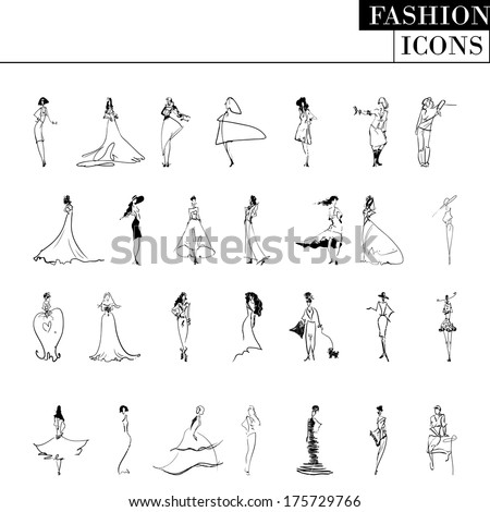 Vector fashion models: big black and white set - stock vector