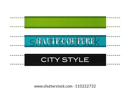 Vector fashion ribbon textured clothing labels with stitches, green, blue and black - stock vector