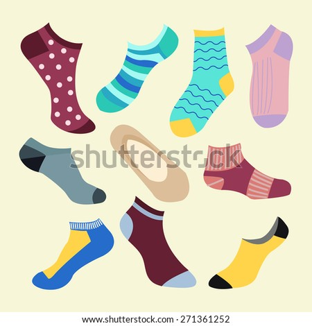 Vector fashion  Set icon of colored socks. Different types of socks- Illustration - stock vector