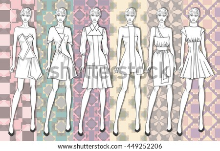 Vector fashion set of summer clothes template for young woman. Summer different dresses for young girl on geometric seamless pattern background. Vector fashion illustration.