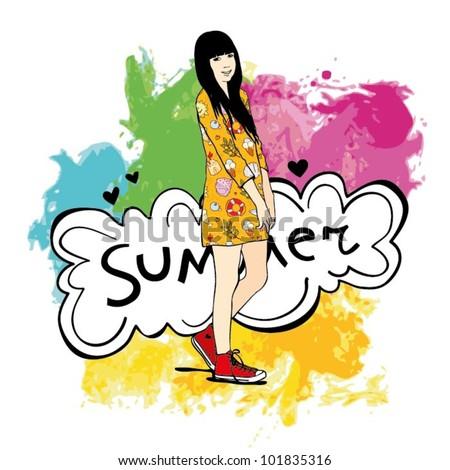 Vector Fashion Women in Summer Dress - stock vector