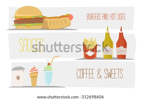 Vector fast food banners.