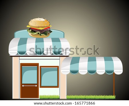 Vector fast food cafe - stock vector