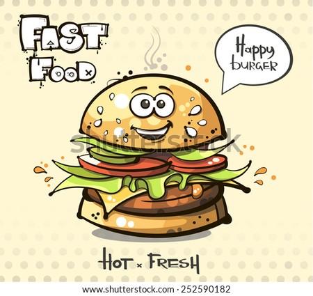 vector. fast food. hamburger. - stock vector