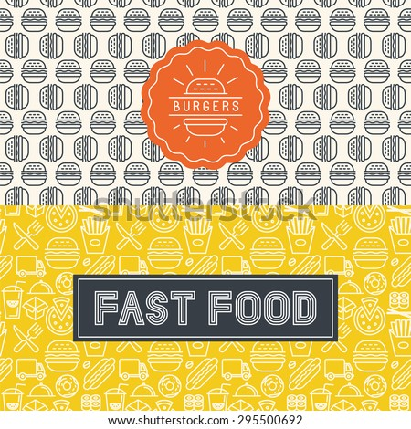 Vector fast food package design elements in trendy mono line style - logos and seamless patterns - stock vector
