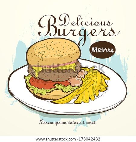 vector fast food restaurant menu brochure cover design template - stock vector