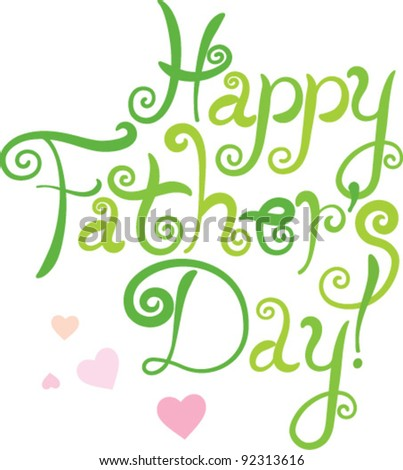 vector / fathers day greeting / green