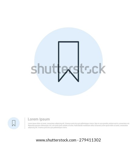 vector Favorite bookmark icon thin line for web and mobile, modern minimalistic flat design. Vector outline icon and offset colour on light white background - stock vector