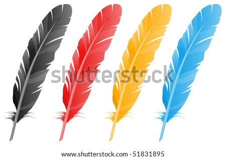 Vector feather. Four variants of color. - stock vector
