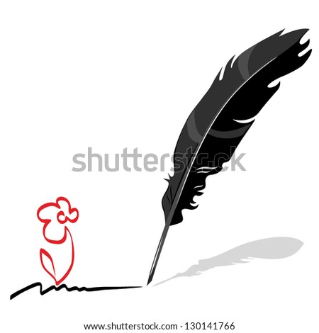 Vector feather. Writing pen - stock vector