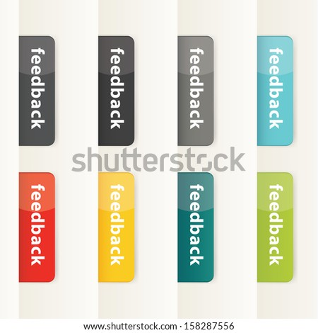 Vector feedback buttons for your website. Modern design button in eight different colors. Plastic feedback buttons. - stock vector