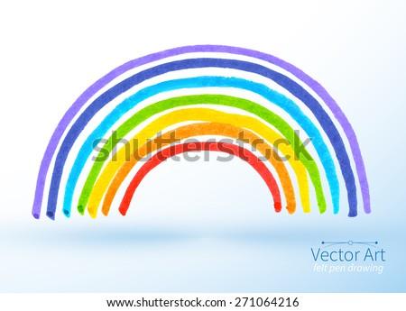 Vector felt pen childlike drawing of rainbow. - stock vector