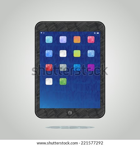 Vector felt tip marker pen drawn modern tablet with colorful icons computer on grey shining background, easy editable color - stock vector