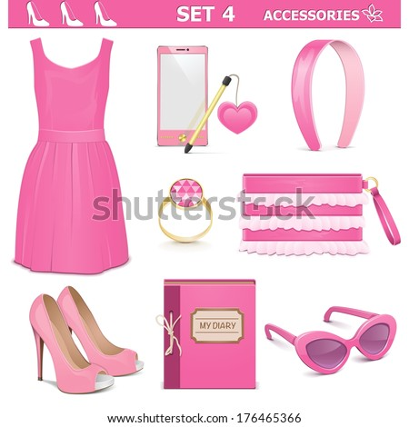 Vector Female Accessories Set 4 - stock vector