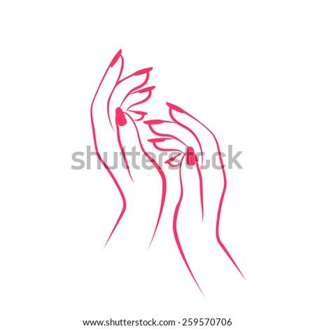 vector female hands manicure - stock vector