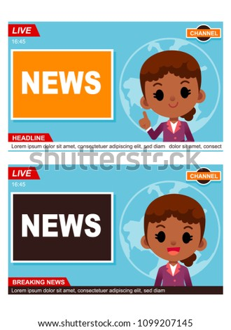 Vector Female News Reporter With Room Background And Graphic