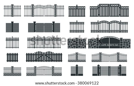 Iron Fence Gate Vector Illustration Stock Vector 203526694
