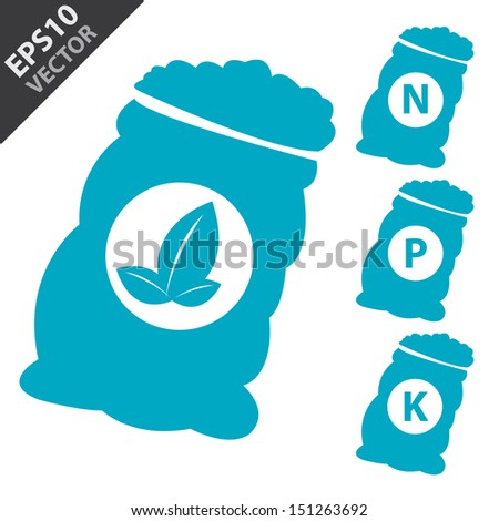 Vector : Fertilizer Icon Present By Blue Nitrogen, Potassium, Phosphorus and Leaf Sack Isolated on White Background  - stock vector
