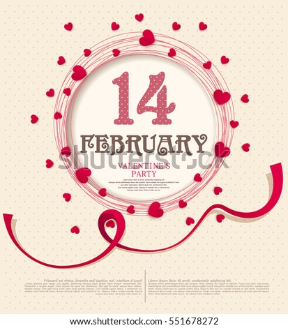Vector festive background Valentine's Day. Template for an invitation to a party. Red hearts around the circular frame