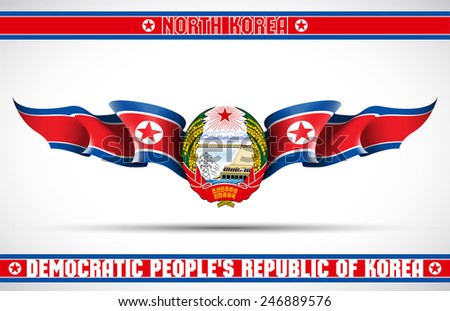"""vector festive banner with flags of North Korea and an inscription """"North Korea. Democratic People's Republic of Korea"""" - stock vector"""