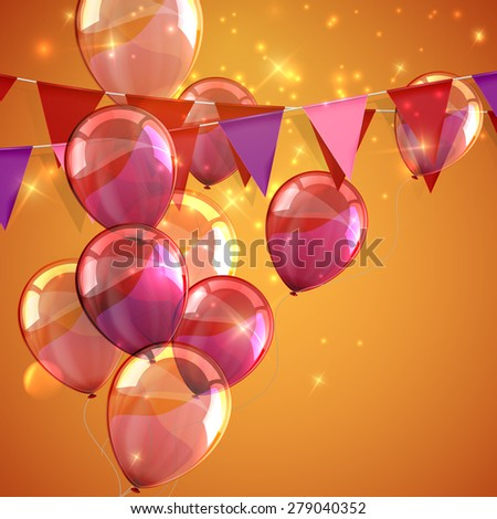 vector festive illustration of bunting flags, flying balloons and sparkles. decorative elements for design - stock vector
