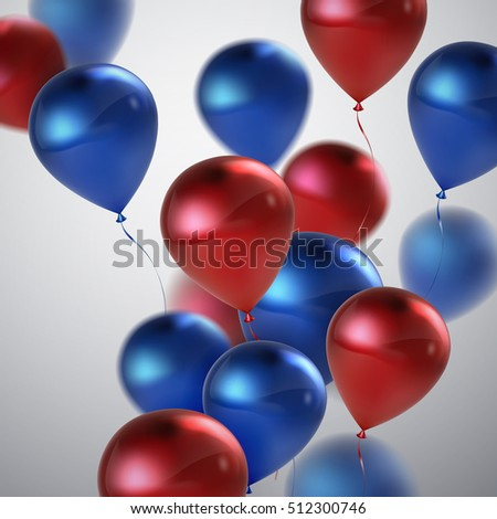 Vector festive illustration of flying realistic glossy balloons. Blue and red balloon bunch. Decoration element for holiday event invitation design.